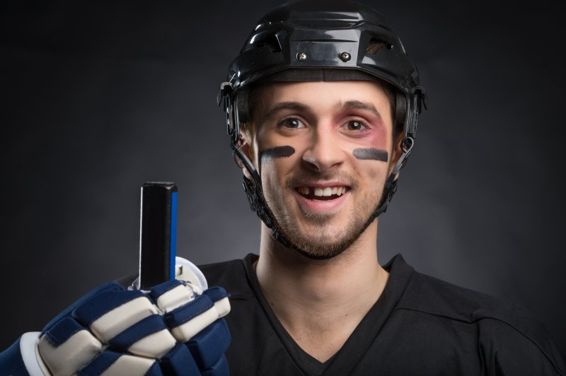 Hockey player missing tooth